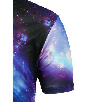 Short Sleeves 3D Galaxy Printed T-Shirt - BLACK 2XL