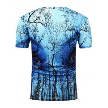 3D Eyes Forest Printed Crew Neck T-Shirt - BLUE M