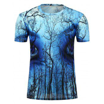 3D Eyes Forest Printed Crew Neck T-Shirt