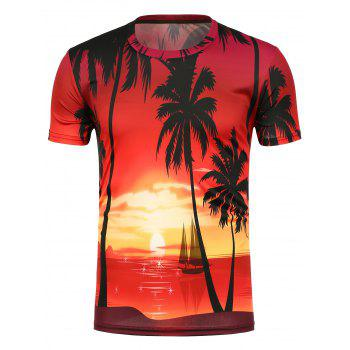 3D Setting Sun Print Crew Neck T-Shirt