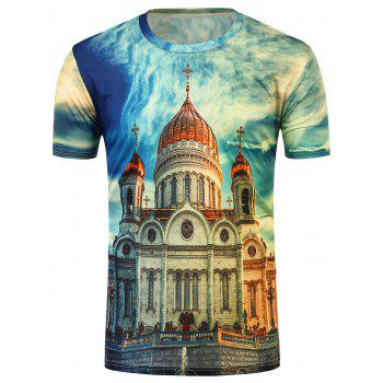 3D Castle Print Crew Neck T-Shirt