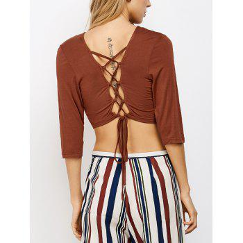 Lace Up Back Cropped Tee
