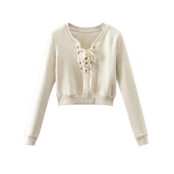 Lace Up Round Neck Cropped Sweatshirt - OFF WHITE S
