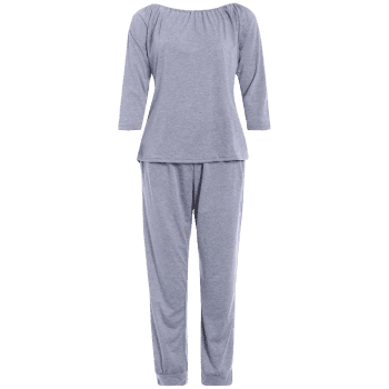 Sporty Off The Shoulder Top and Drawstring Jogger Pants - GRAY S