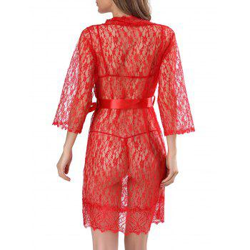 Lace See-Through Babydolls With Belt - RED L