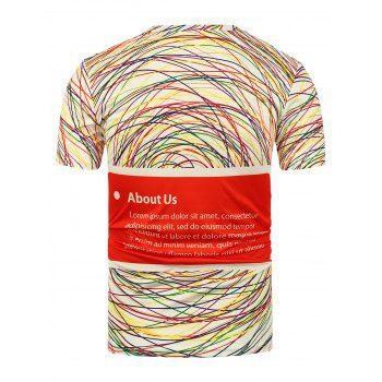 3D Colorful Lines Printed T-Shirt - WHITE M