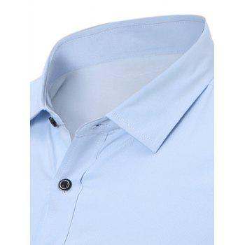 Long Sleeve Slim Fit Flocking Shirt - ICE BLUE L