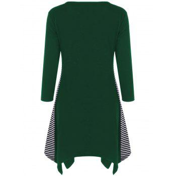 Striped Trim Asymmetrical Longline T-Shirt - GREEN XL