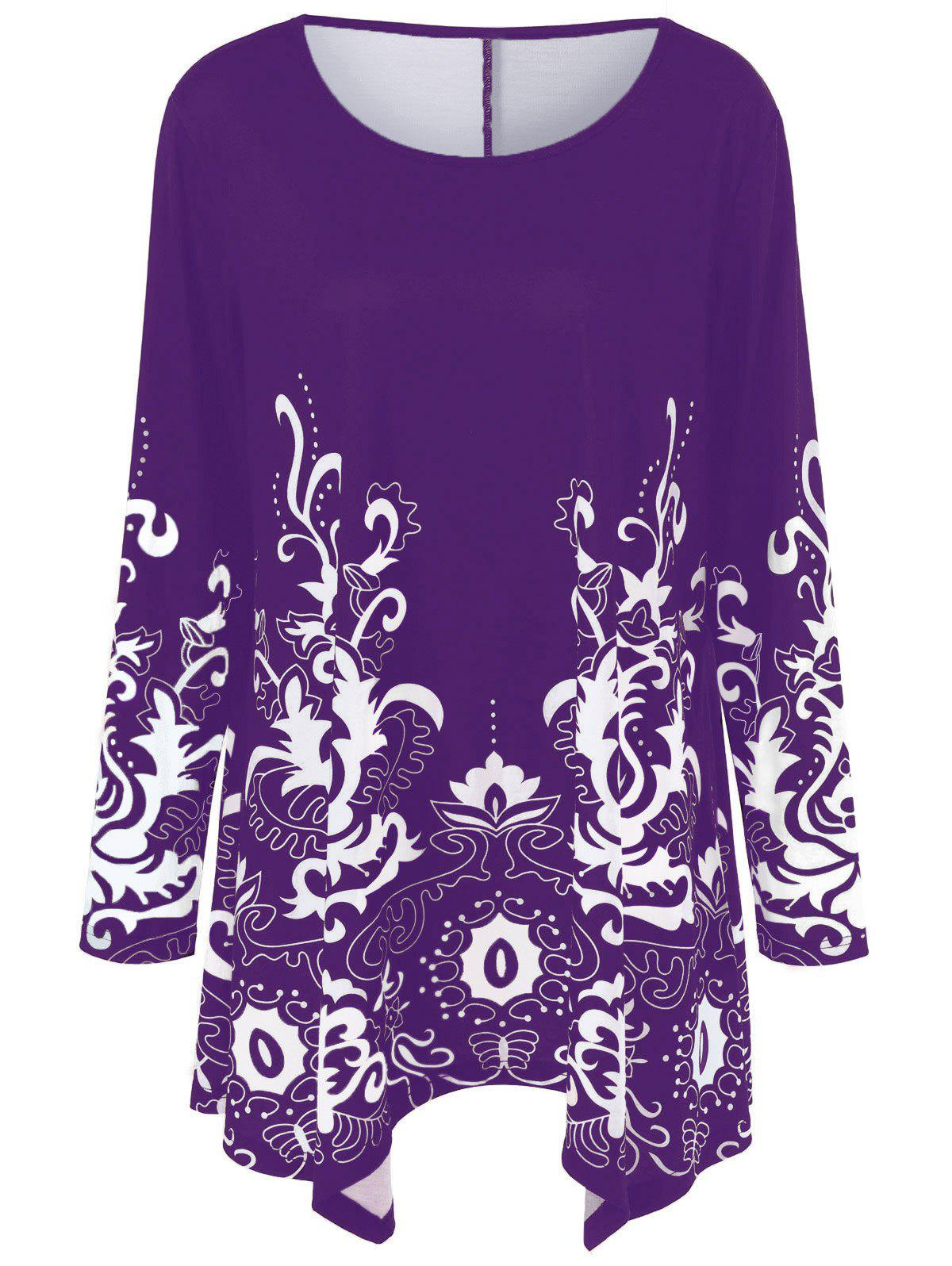Plus Size Floral Print Asymmetric T-Shirt - PURPLE XL