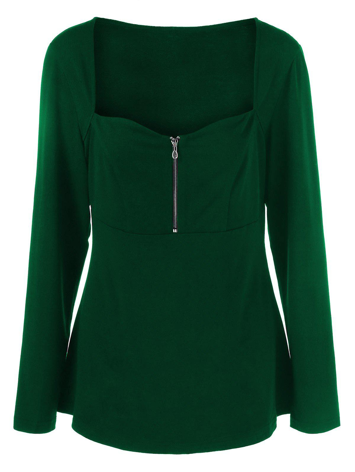 Plus Size Half Zip Sweetheart Neck T-Shirt - GREEN 2XL