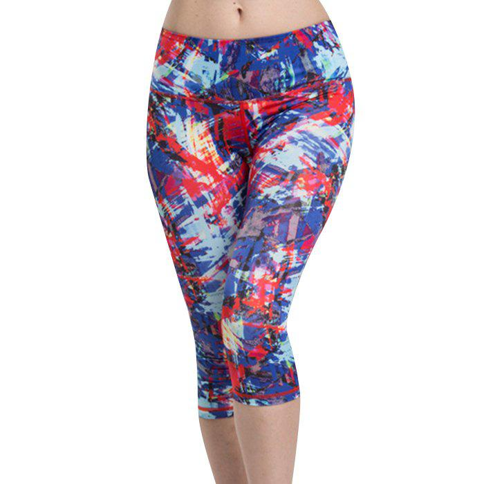 Chic Women's High Waist Colormix Sport Leggings - COLORMIX XL