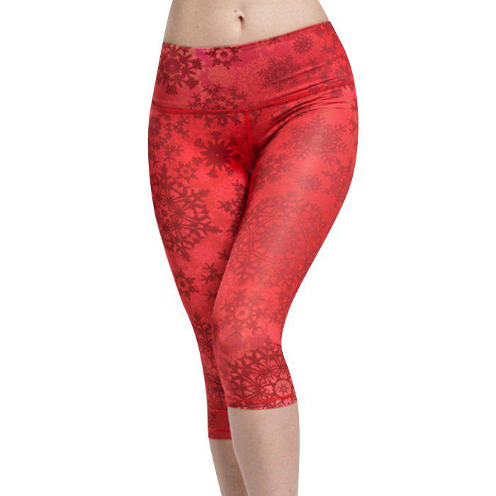 Chic Women's High Waist Snowflake Sport Leggings - RED L