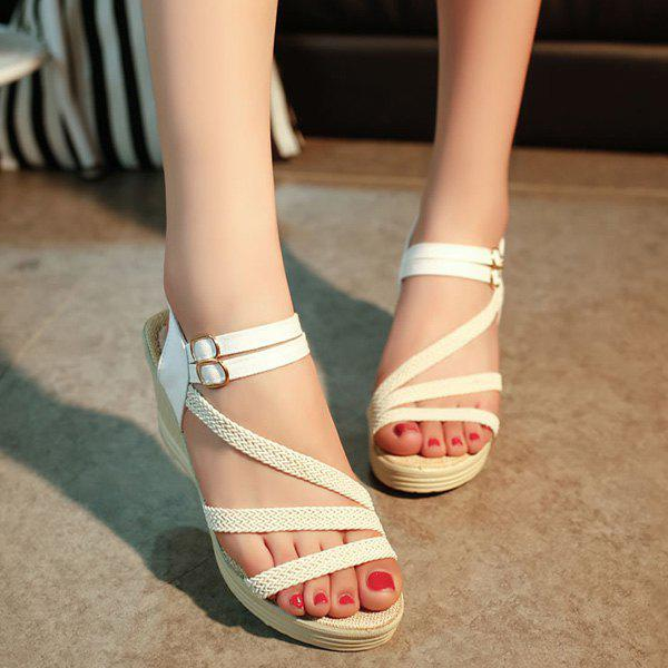 Double Buckle Strap Woven Belt Sandals - WHITE 38