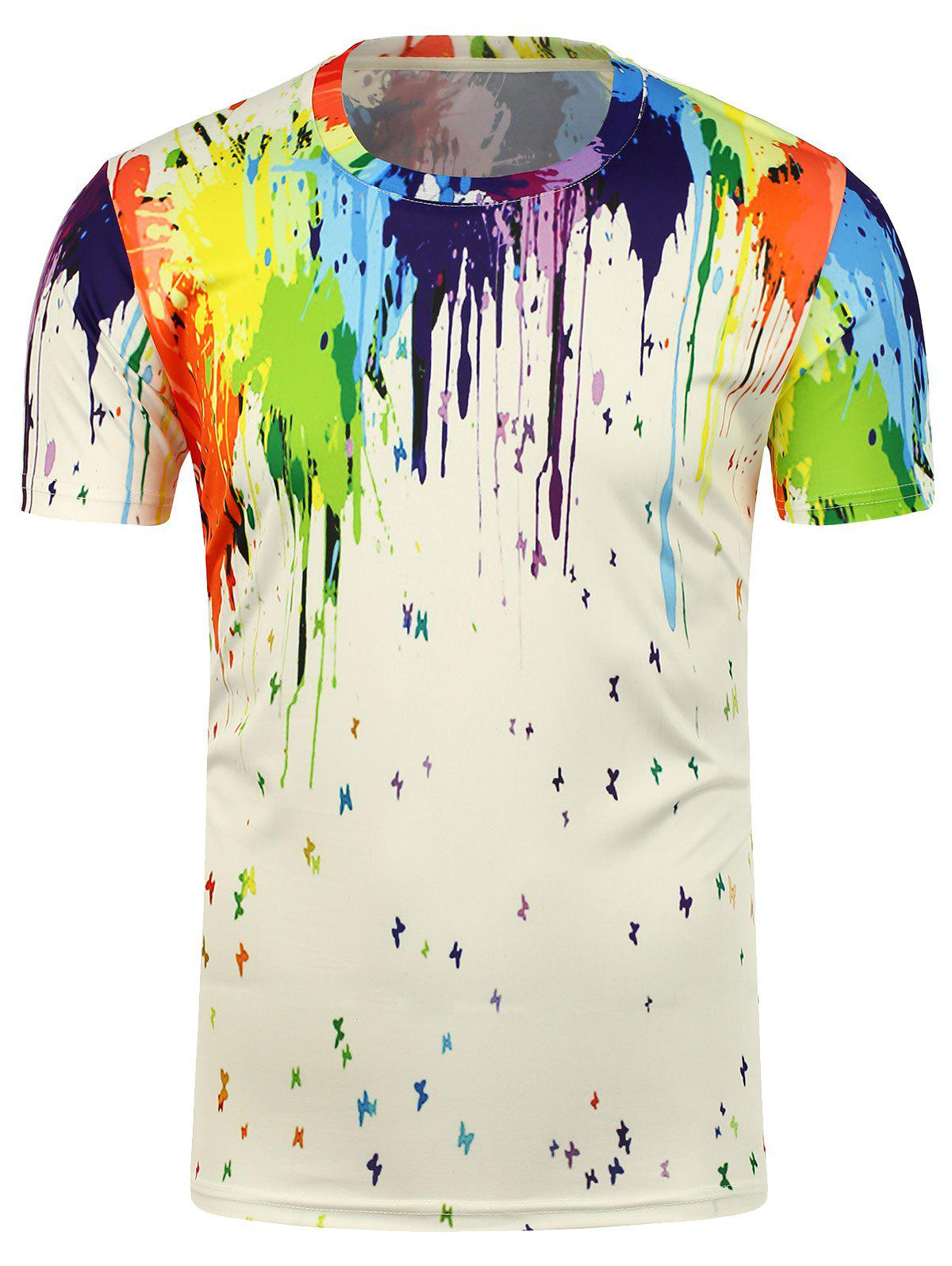 Crew Neck 3D Paint Splatter T-Shirt - WHITE 2XL