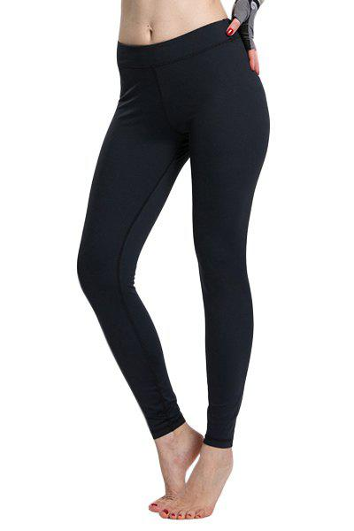 Simple Design Women's Solid Color High Waist Sport Leggings - BLACK L