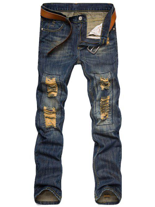 Zipper Fly Straight Leg Ripped Jeans 2017 new brand men jeans style mens washed denim pants ripped jeans large size male casual straight slim wholesale jeans 2081