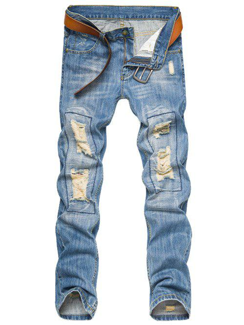 Zipper Fly Ripped Jeans - Azur 40