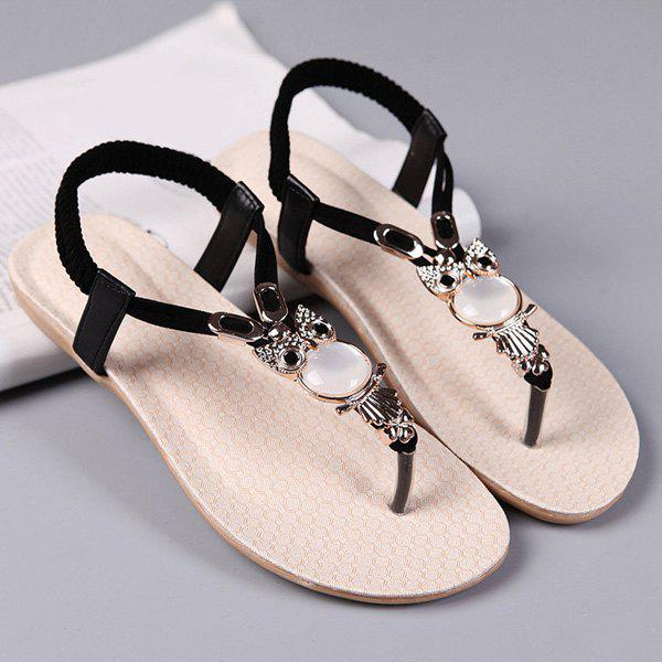 Flat Heel Elastic Faux Leather Sandals - BLACK 38
