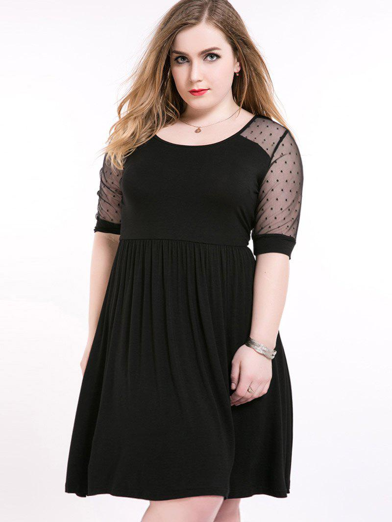 Mesh Insert A Line Plus Size Dress - Noir 7XL