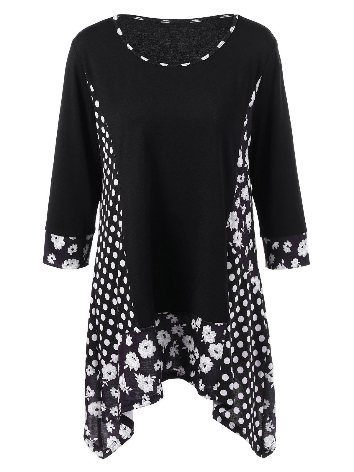 Plus Size Floral and Polka Dot T-Shirt plus size polka dot and floral swimwear