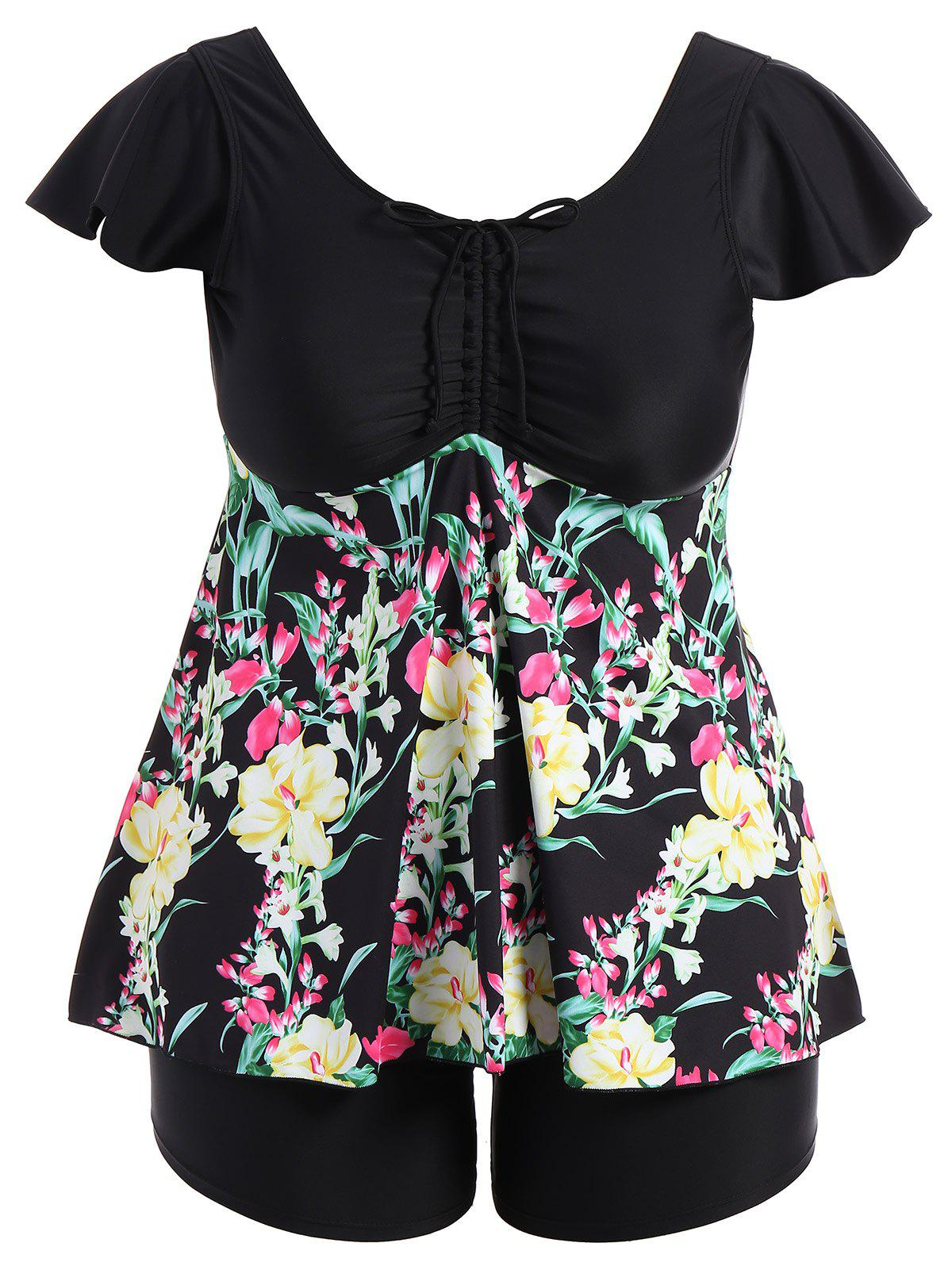 Plus Size Ruched Padded Floral Skirted Swimsuit - BLACK 6XL