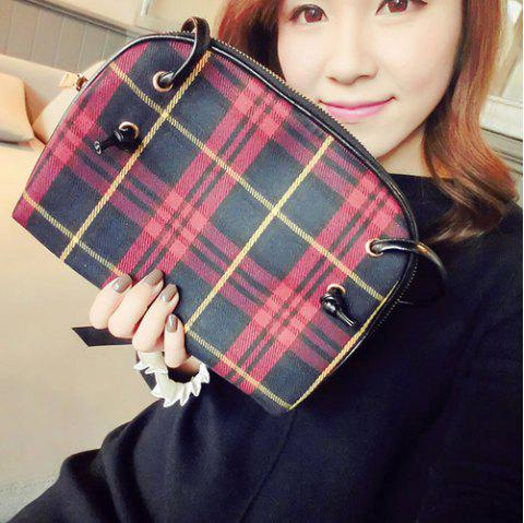 Tartan Check Cross Body Bag - RED