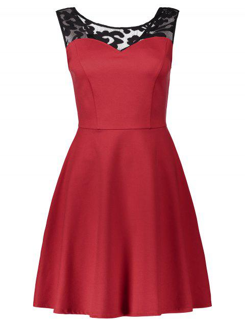Lace Panel Sleeveless A Line Dress - RED L