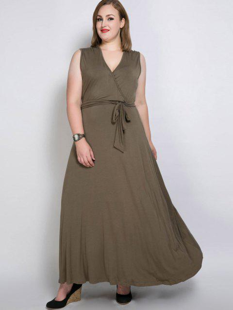 2018 Plus Size Long Surplice Prom Dress With Belt Olive Green Xl In