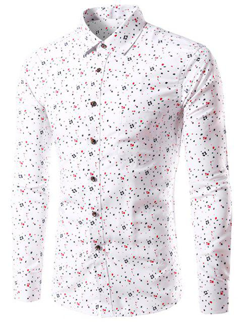 Long Sleeve Splatter Paint Dot Print Shirt - WHITE 2XL
