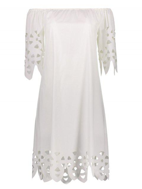 Off The Shoulder Mini Casual Shift Dress With Sleeve - MILK WHITE XL