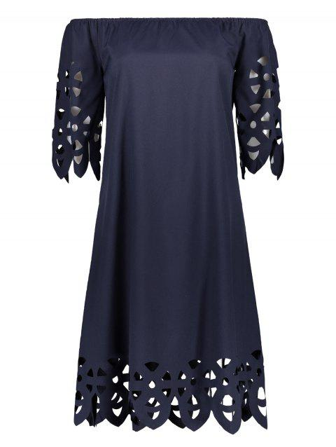 Off The Shoulder Mini Casual Shift Dress With Sleeve - CADETBLUE S