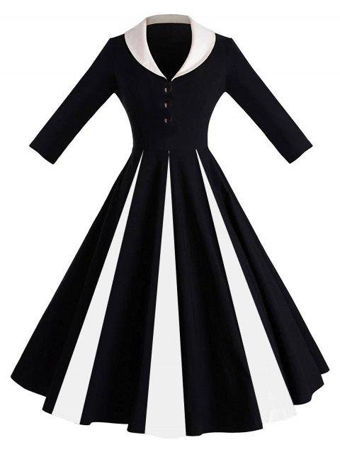 Limited Offer 2019 Color Block Shawl Collar Pin Up Dress In Black