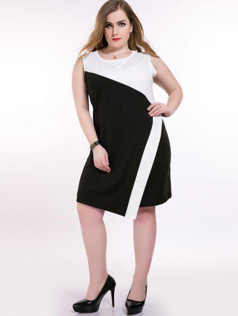 41% OFF] 2019 Color Block Sleeveless Plus Size Dress In WHITE/BLACK ...