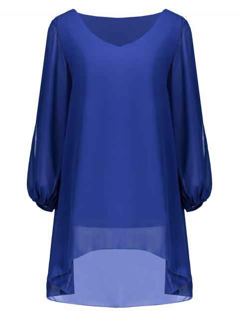 V Neck Chiffon Loose Asymmetrical Blouse - BLUE M