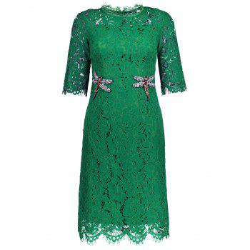 Rhinestone Dragonfly Embellishment Scalloped Lace Dress