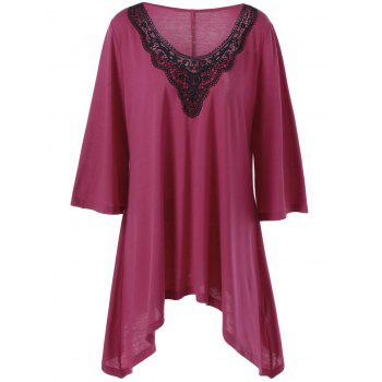 Plus Size Crochet Trim Asymmetrical Longline T-Shirt