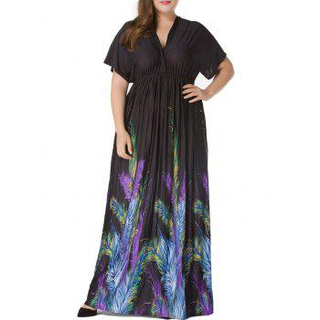 Plus Size Short Sleeve Feather Print Empire Waist Maxi Dress