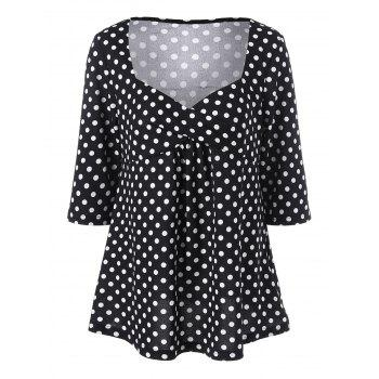 Plus Size Empire Waist Polka Dot T-Shirt