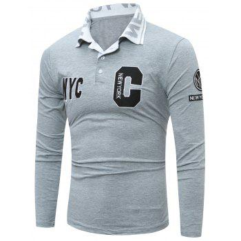 Long Sleeve Patch Design Polo Shirt