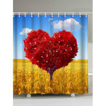 Heart Shaped Tree Print Shower Curtain