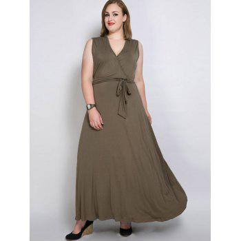 V Neck Maxi Plus Size Belt Maxi Dress