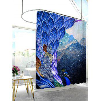 Mouldproof Waterproof Shower Peacock Print Curtain - BRIGHT BLUE 150*180CM