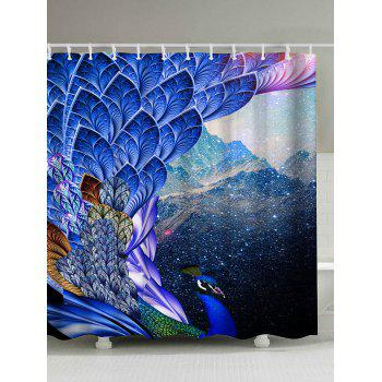 Mouldproof Waterproof Shower Peacock Print Curtain - BRIGHT BLUE 180*200CM