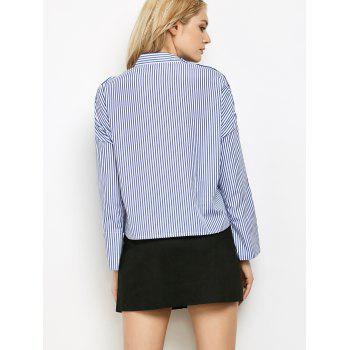 Stand Neck Long Sleeve Striped Embroidered Blouse - BLUE/WHITE S