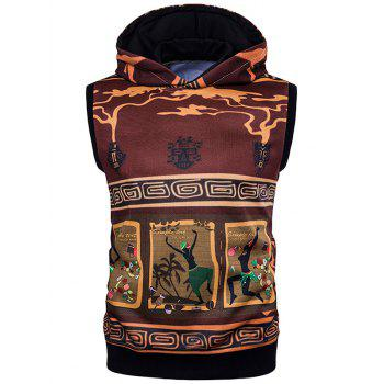 Sleeveless Geometric and Totem Print Hoodie