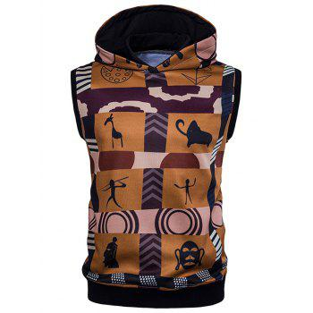 Color Block Sleeveless Scrawl Print Hoodie