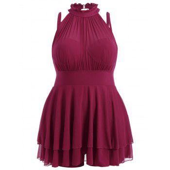 Plus Size Sleeveless High Neck Chiffon Skirted Swimsuit