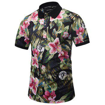 Graphic Printed Floral Polo Shirt