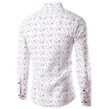 Long Sleeve Splatter Paint Dot Print Shirt - WHITE 4XL