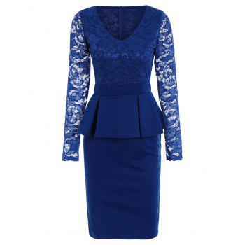 Long Sleeve Bodycon Lace Inset V Neck Peplum Dress